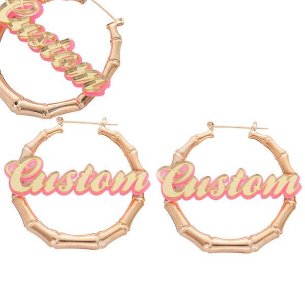 Personal Custom Name Design In Handmade Round Bamboo Earrings Perfect Kids Gift For Best Friend Love Jewelry For Girls J190520