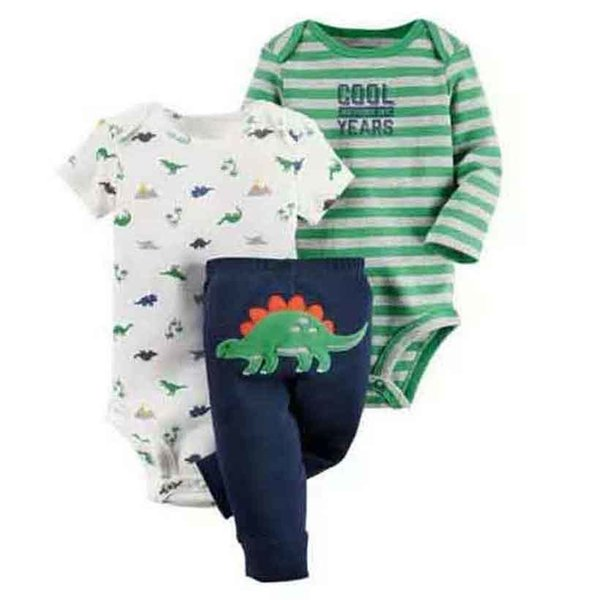 Cartoon Dinosaur Long Sleeve Bodysuit+pants For Newborn Baby Boy Girl Clothes Set Cotton New Born Outfit Infant Babies Suit Y19061303
