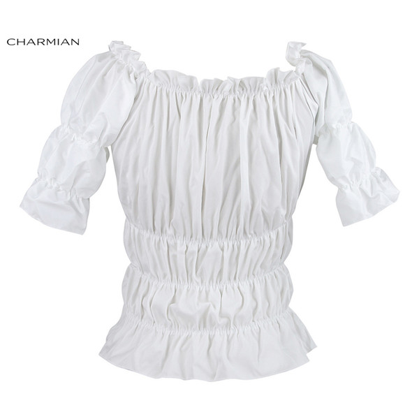 Charmian Off Shoulder Top Vintage Gothic Victorian Blouse Lolita Elastic White Top Steampunk Plus Size Women Clothing Y19062501