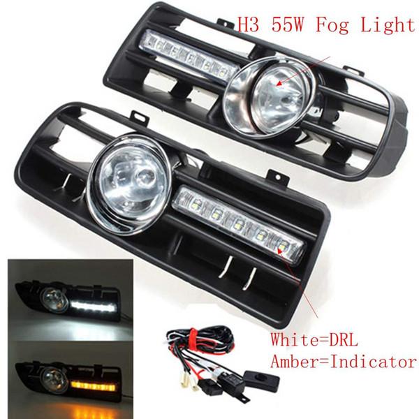 2tlg Auto Frontgrill Driving Nebelscheinwerfer Set mit LED für VW GOLF MK4 1997-2006