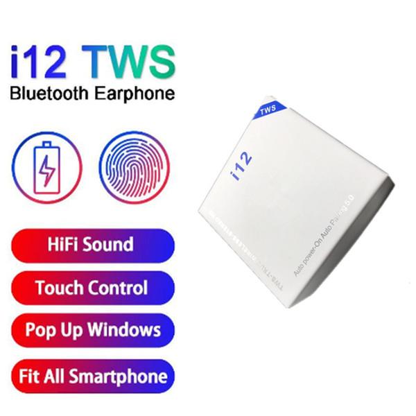 매트의 색상은 TWS 블루투스 5.0 무선 블루투스 헤드폰 창 이어폰 다채로운 터치 제어 무선 헤드셋 팝업 지원 I12