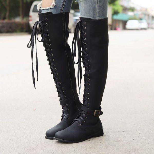 2019 Nuevas botas altas para el muslo de las mujeres Tacones altos de cuero de gamuza con cordones Botas sobre la rodilla para mujer Zapatos de mujer de talla grande