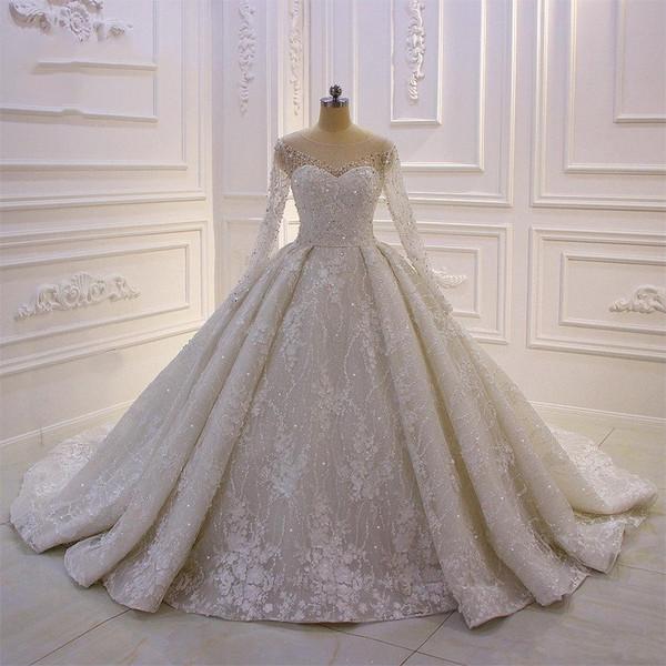 2020 sfera pizzo splendido abito da sposa abiti gioiello bordato collo appliqued maniche lunghe Abiti da sposa d'epoca Plus Size abiti de soiree
