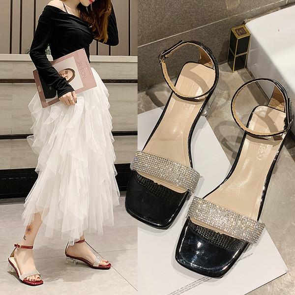 Net sandales rouges femme chaussures 2019 été nouvelle sauvage strass transparent super feu sexy mot boucle avec bout ouvert stiletto
