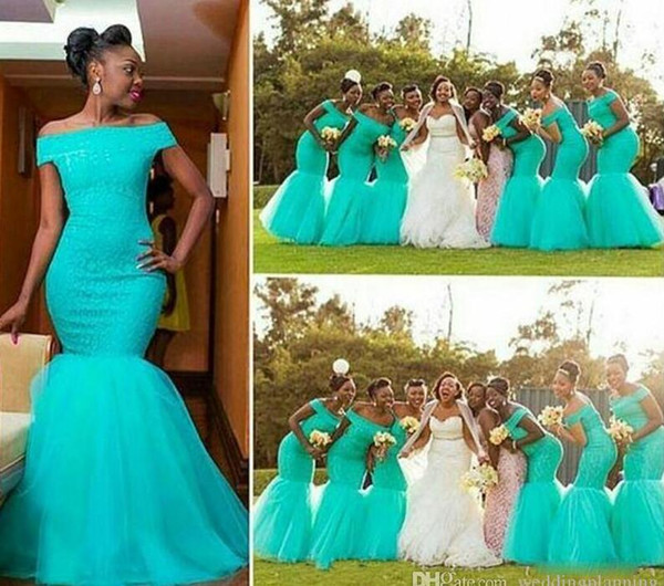 African Bateau Neck Tulle Mermaid Long Bridesmaid Dresses Lace Top Floor Length Formal Gowns Wedding Guest Maid Of Honor Dress BM0180
