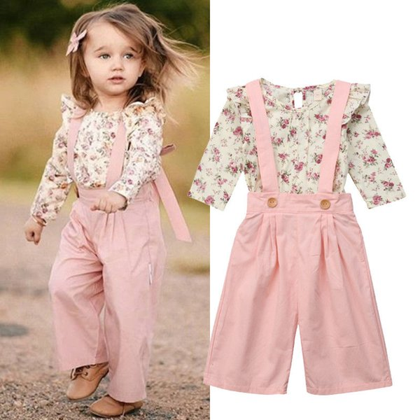 Autumn Toddler Kid Baby Girl Clothes Set Princess Long Sleeve Floral Top Bib Strap Suspender Overalls Pants Panties 2Pcs Outfit