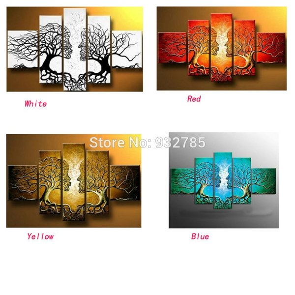 free shipping,handmade oil painting on canvas tree kiss black white abstract Modern 5panel set large wall art cheap home decor