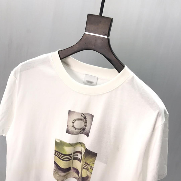 19ssUK London brand early spring explosion fashion tunnel printing high quality clothing men's designer luxury white catwalk TEE top