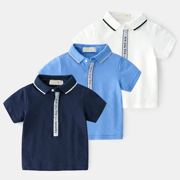2019 New Summer Classic lapel Enfant Boys T-shirt Children Cotton letter Solid polo Shirt Tops Kids Baby Short Sleeve T-Shirt 2-7y
