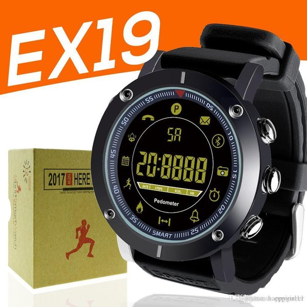 EX19 smart watch 5ATM swim waterproof Call SMS Alert Pedometer stopwatch fitness tracker Smartwatch Wristwatch for IOS Android iphone