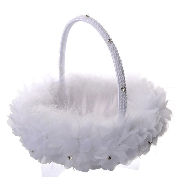 White Ostrich Feather Flower Girl Basket Elegant Round Silk Flower Basket Feather Wedding Favors Wedding Accessory New CPA1911