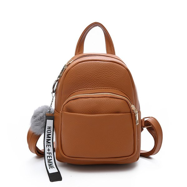 New Mini Backpack Women Pu Leather College Small Travel Shoulder Bags For Women School Rucksack Girl Purse Fuzzy Ball 2019