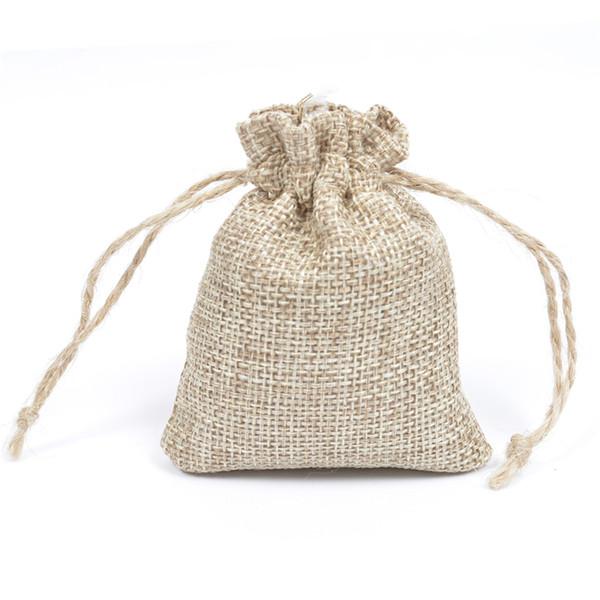 7x9cm Jute Pouches Gift Candy Linen Bags Wedding Party Christmas Favor Hessian Jute Burlap Drawstring Pouch 50pcs/lot