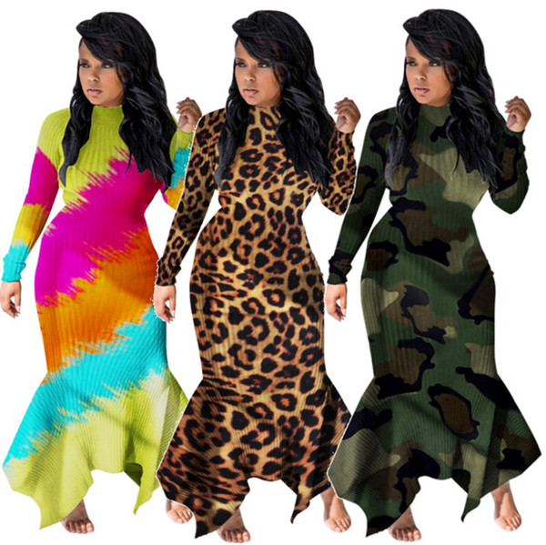 best selling Women Casual Maxi Dresses Fall Winter Clothing Sexy Skirt Long Sleeve Party Dresses S-2XL 3COLORS Leopard Camouflage Fashion Sell 1810