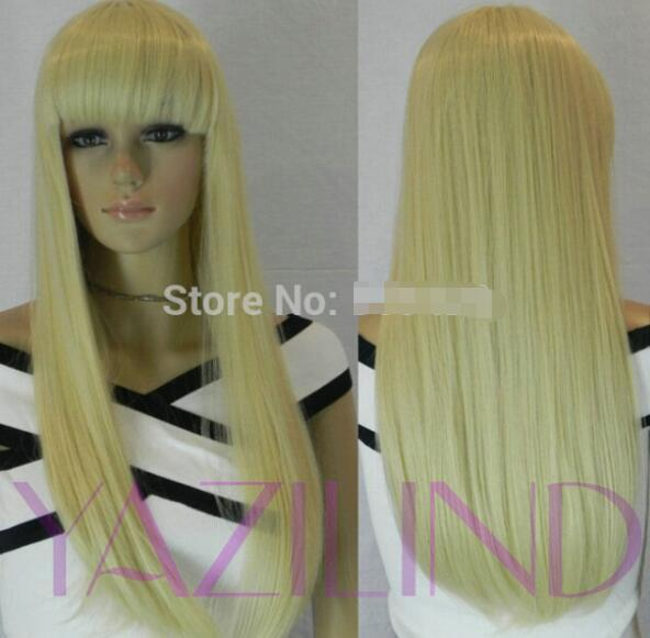 FREIES VERSCHIFFEN + neue Frauen lange glatte Haarperücke blonde volle Pony hitzebeständige synthetische Perücke