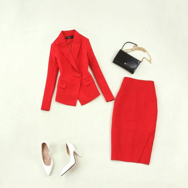 Tenue de soirée élégante pour femmes de grande qualité 19 printemps et en été costume de grande taille pour femme rouge + sac jupe fendue OL coupe-vent
