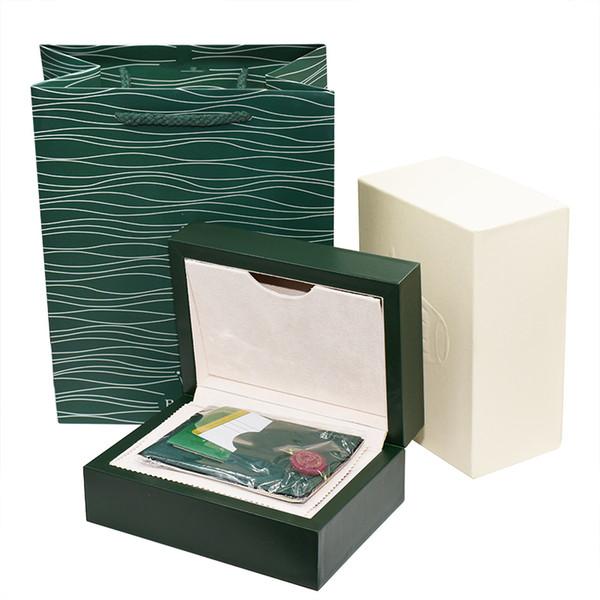 Kostenloser versand Luxus Dunkelgrün Uhrenbox Geschenk Fall Für Rolex Uhren Booklet Karte Tags Und Papiere In Englisch Schweizer Uhren Boxen