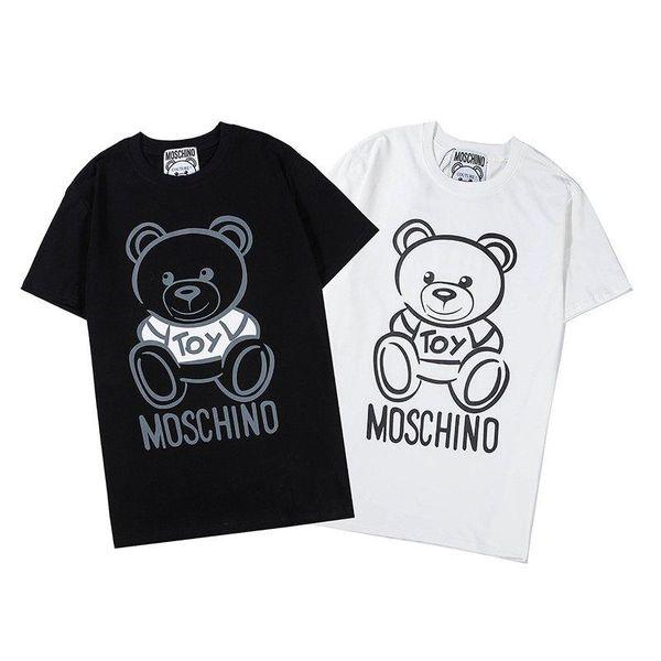 Moschino Funny Womens Men Short Sleeves Cotton Tops Bear Printed T-shirt UK
