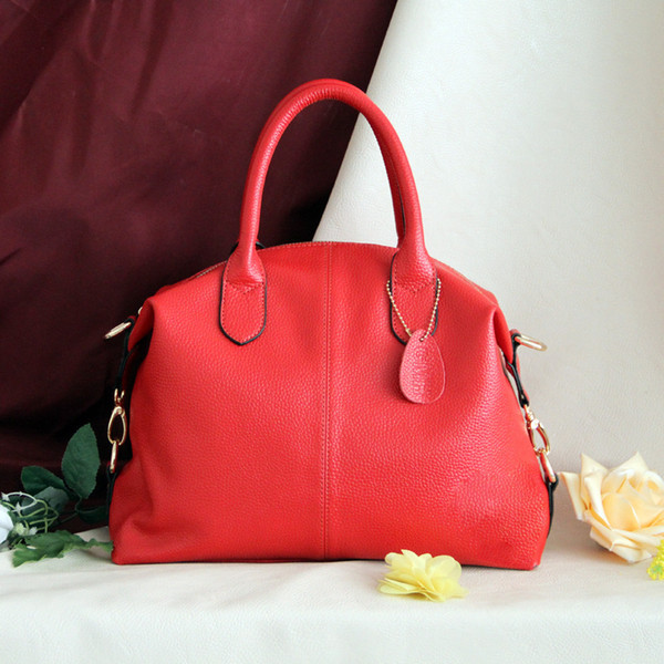 Charm2019 Manufacturer Directly For 2016 Pattern European Demeanour Litchi Grain Portable Woman Package Solid Color Cowhide Bag Customize