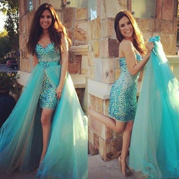 Satin Tulle Blue Tight Fitted Blue Short Cocktail Dress Major Beading Prom Gowns With Detachable Train vestidos largos