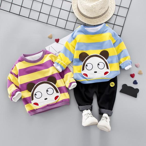 Мальчик девочка одежда устанавливает Дети 2 шт. широкая полоса мультфильм обезьяна+брюки дети милый ребенок дети мальчик девочка наряды наборы