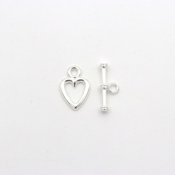 10 sets Gold Antique Silver Heart Shaped OT Clasps Toggle For Jewelry Making Diy Bracelet Needlework Accessories Wholesale