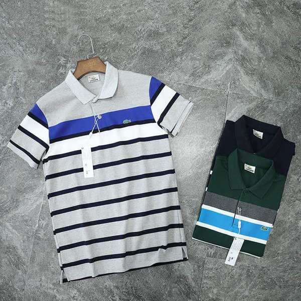2019 New Mens Polo Shirt Marque Polo Mens Summer Top Tees À Manches Courtes Marque Chemises Mens Style Bureau Polo Shirts Taille M-2XL
