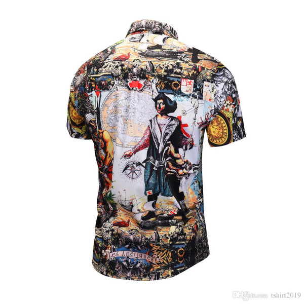 Fashion shirts Hawaiian floral men's shirt beach summer short sleeve fit men's shirt printed lining dress men shirts