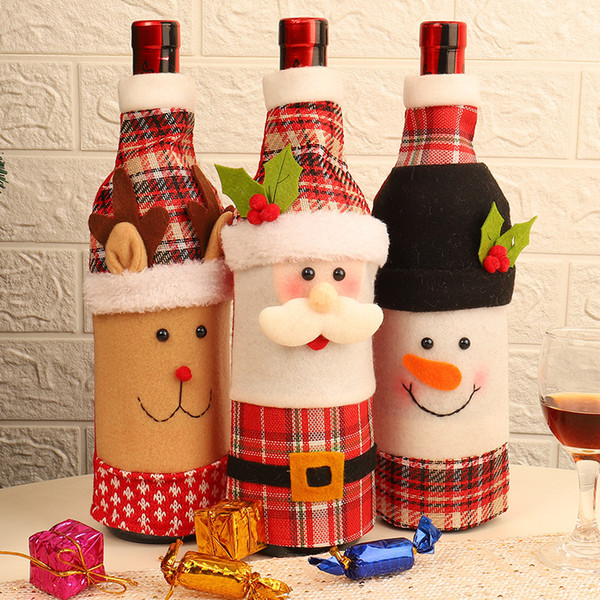 Christmas Table Decoration Wine Bottle Cover Dinner Party Red Wine Santa Claus Bottle Cover Bag Sets New Year Xmas Bottle Cover Dbc Vt1022 Elegant