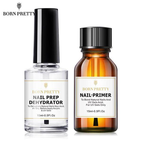 best selling BORN PRETTY 15ML Nail Prep Dehydrator and Nail-Primer Set Free Grinding Nail Art No Need of UV LED Lamp Gel Nail Polish Tool