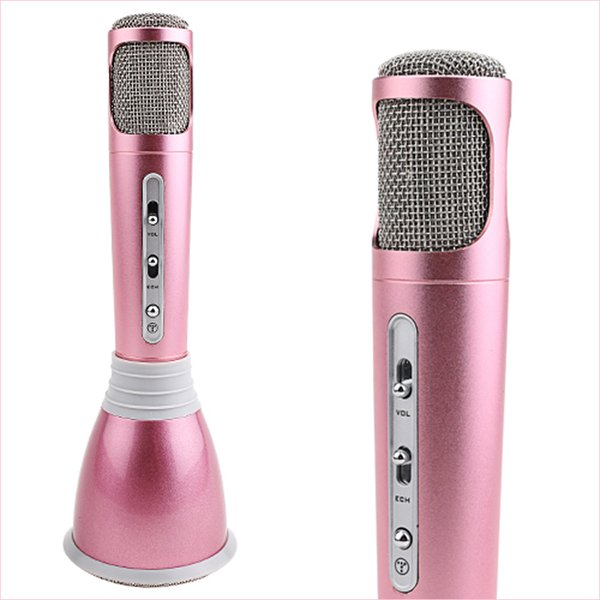 K068 Wireless Bluetooth Microphone with Mic Speaker Condenser Mini Karaoke Player KTV Singing Record for samsung Iphone Best Quality