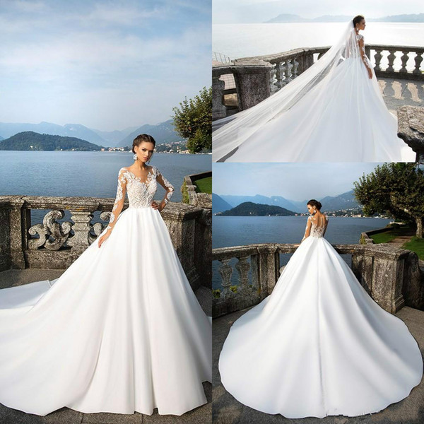 Discount 2020 A Line Lace Tulle Modest Wedding Dresses Sheer Long