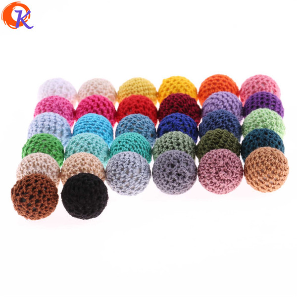wholesale 20MM 50Pcs/Lot Crochet Covered Beads Colour Mix Ball For Baby Teething Diy Necklace Hand Made Crochet Bead