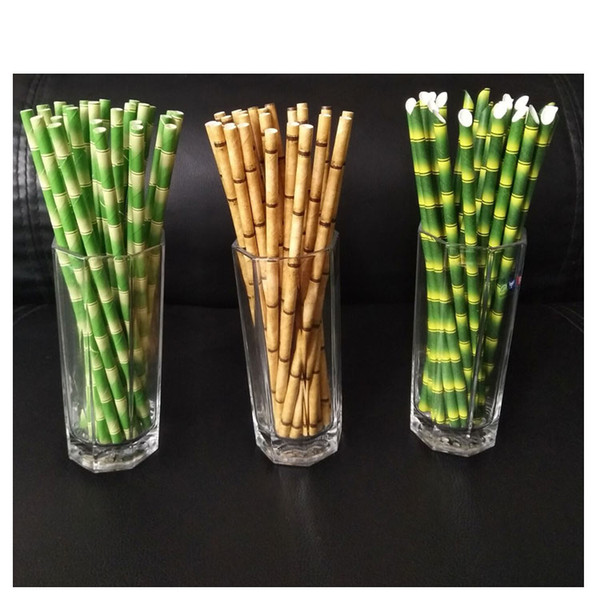 top popular Paper Straws 19.5cm Disposable Bubble Tea Thick Bamboo Juice Drinking Straw 25pcs lot Eco-Friendly Milk Straw Birthday Wedding Party Gifts 2021