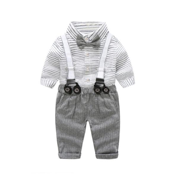 2 sistemas de la ropa de los niños del otoño y el invierno niño rayado pajarita camisa + Tirantes + casual del bebé del caballero ropa de estilo de cumpleaños