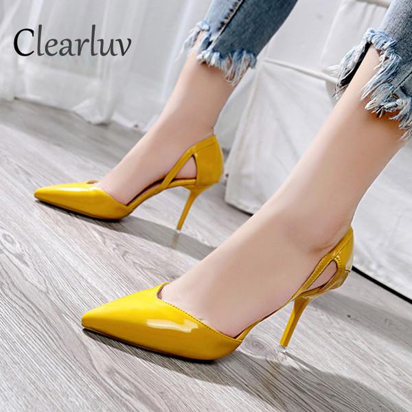 Designer Dress Shoes in pelle verniciata Ladies Office 2019 New Fashion Ladies tacchi alti delle donne punta sexy Sexy bocca superficiale C0753