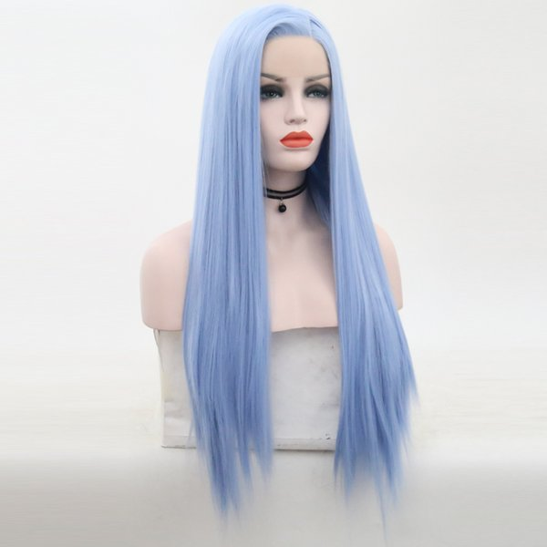 Синий синтетический парик фронта шнурка жаропрочных волокна волос Straight Цвет Синий Синтетические парики Lacefront с ребенком волос для чернокожих женщин