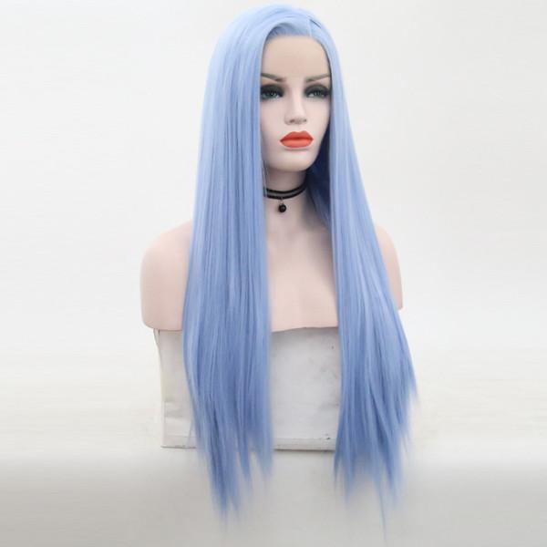 Synthetic azul peruca dianteira do laço do cabelo resistente ao calor de fibra Hetero Synthetic Cor Azul Lacefront Perucas com bebê cabelo da Mulher Negra