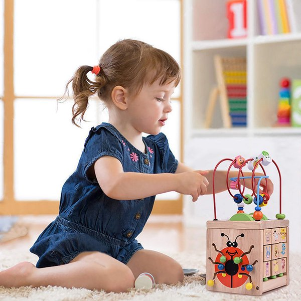 Boys Girls montessori Wooden Toys Kid Toy Gifts Wooden Circles Bead Wire Maze Roller Coaster Educational Wood Puzzles