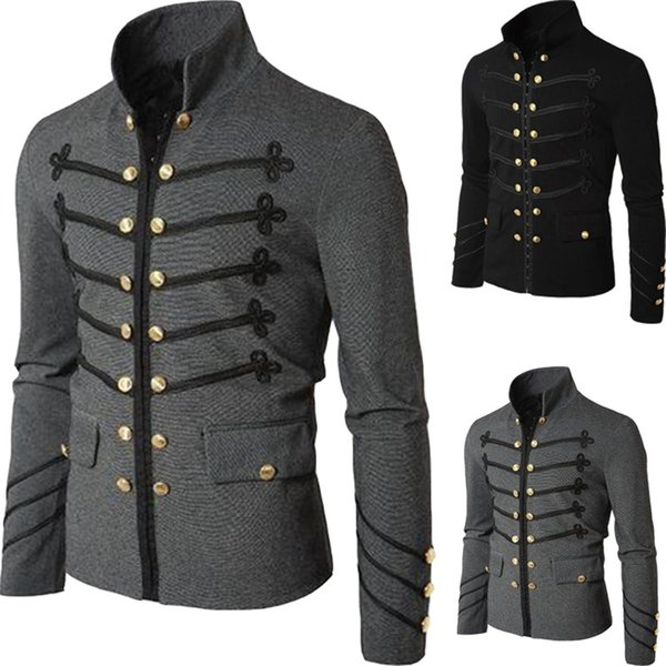Retro Men Parade Jacket Gothic Army Coat Steampunk Tunic Rock Frock Uniform Male Vintage Punk Outwear Cosplay Disfraz