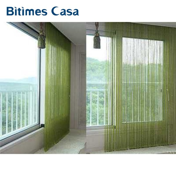 solid color decorative string curtain 300*300CM black white beige classic line curtain window blind vanlance room divider D19011506