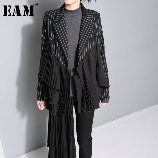 eam] 2019 new autumn winter lapel long sleeve black striped irregular pleated stitch jacket women coat fashion tide jo278, Black;brown