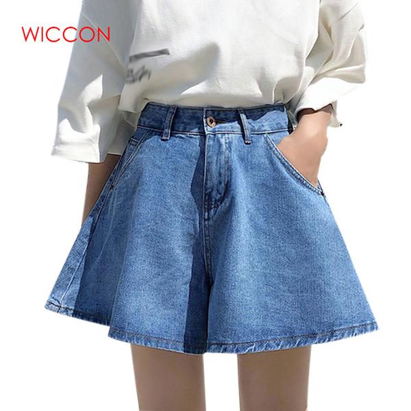 Yaz Yeni Kore Yüksek Bel IWide Bacak Kot Kadın Gevşek Ince Sıcak Şort Vintage Denim Şort Kot Femme