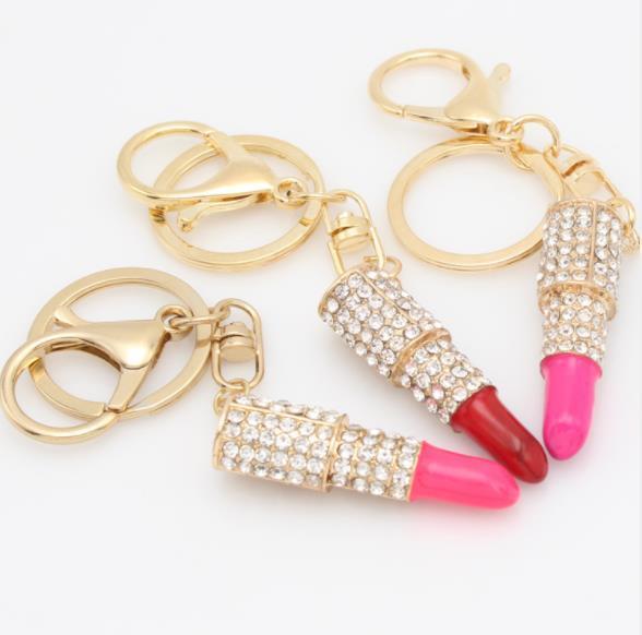 Keychain for Handbag Crystal Alloy Lipsticks Shape Key Ring Car Key Pendant Key Chains Delicate Birthday Gift