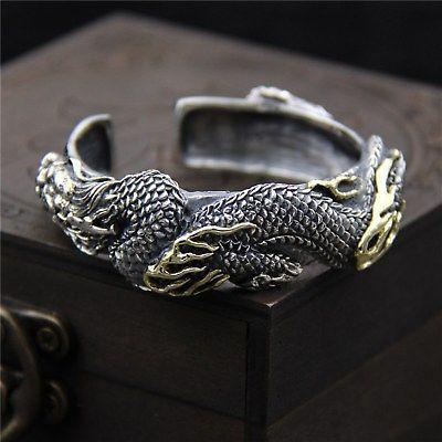 Plata New Real S925 mujeres del brazalete de la pulsera del dragón 68.6g