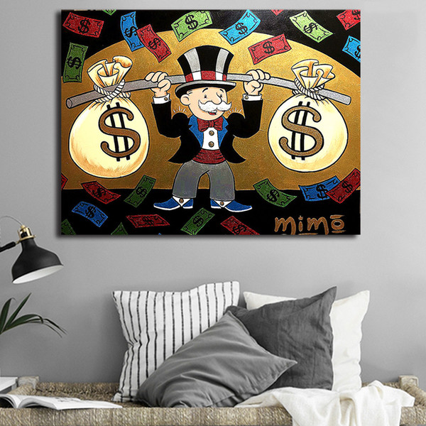 Cartoon Man Money Bag Modern Mickey Alec Monopolyingly Art Picture Canvas Paintings for Living Room Poster on The Wall Home Decoration