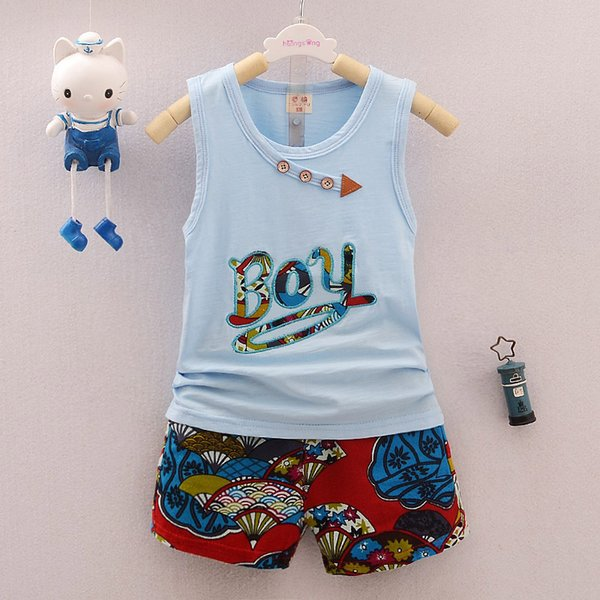 good quality 2019 summer baby boy clothes sets toddler bebe casual outfits suit infant letter print vest+print short 2pcs set