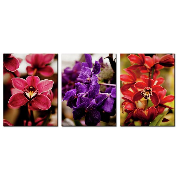 3 Panels Canvas Painting Red and Purple Orchid Flower Picture Prints Artworks Modern Wall Art for Home Living Room Decor Stretched Framed