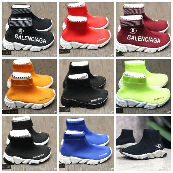Menina tecido deslizamento na sapata bota cores preto vermelho bebê menino menina esporte running shoes sneakers Eu 24-35 enviar com caixa