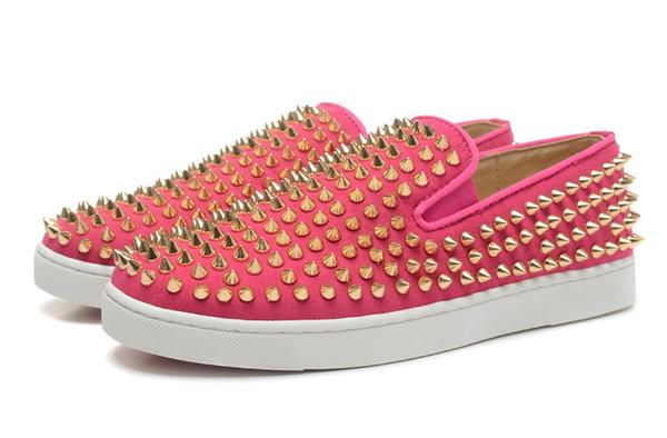 Дизайнер моды шипованные Шипы квартиры обувь для мужчин женщин блеск Партии любителей натуральной кожи повседневная плоская обувь